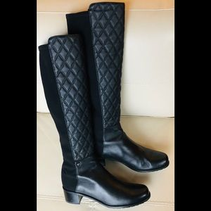 $695 Stuart Weitzman Black 50/50 Quilted Boots NEW